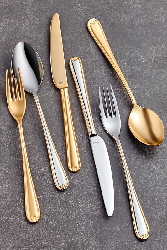 - Anatolia Serisi - Mat Altın ( Tamamı ) - Tatlı Bıçak ( 6 Adet )