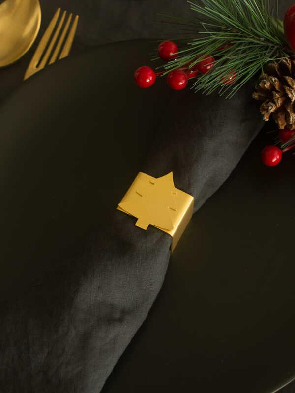 Narin - Çam Ağacı Peçetelik - Mat Altın