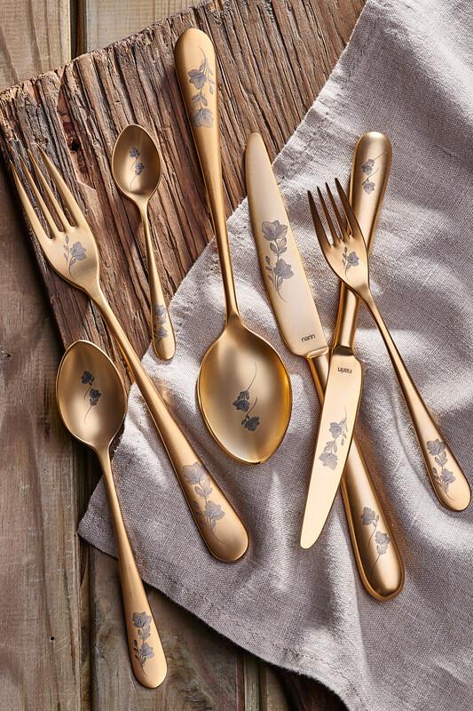 - Epsilon Serisi - Mat Altın - Çiçekli - Tatlı Bıçak ( 6 Adet)