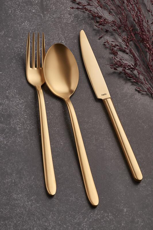- Pladies Serisi - Mat Altın ( Tamamı ) - Yemek Çatal ( 6 Adet )
