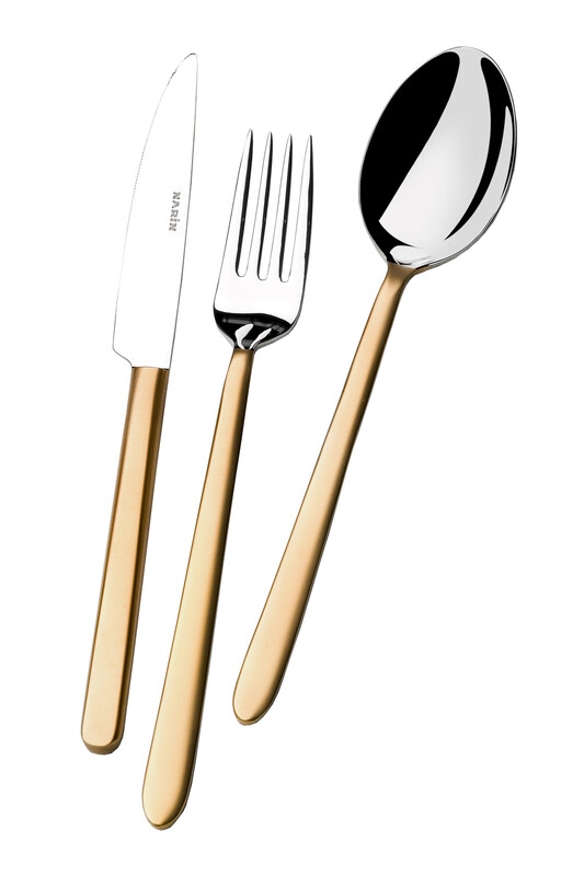 - Pladies Serisi - Mat Altın - Yemek Çatal ( 6 Adet )