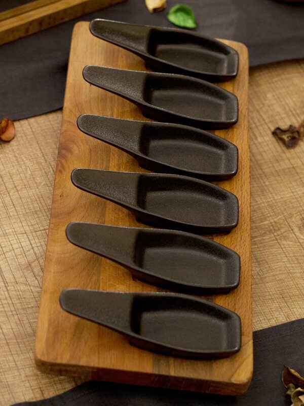 Narin - Porselen İkramlık - Siyah 6'lı