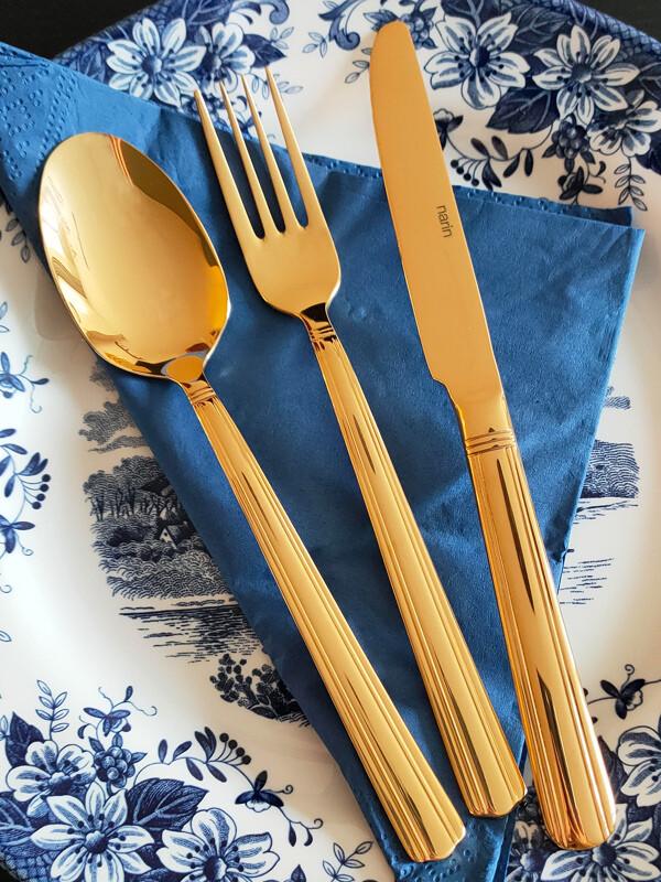 - Poyraz Serisi - Gold Titanyum - Yemek Çatal ( 6 Adet )