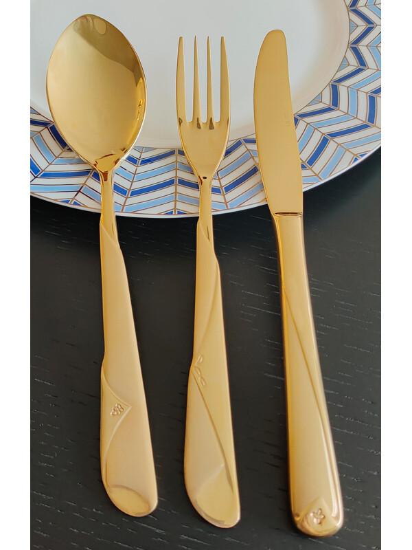 - Şal Serisi - Gold - Titanyum - Çay Kaşık ( 6 Adet )