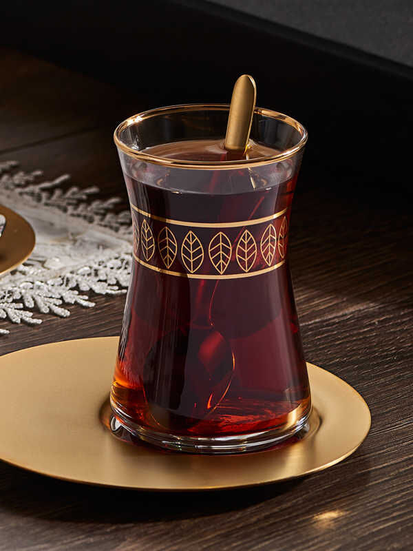 Narin - Yaprak Desenli Çay Bardak ( 6'lı )